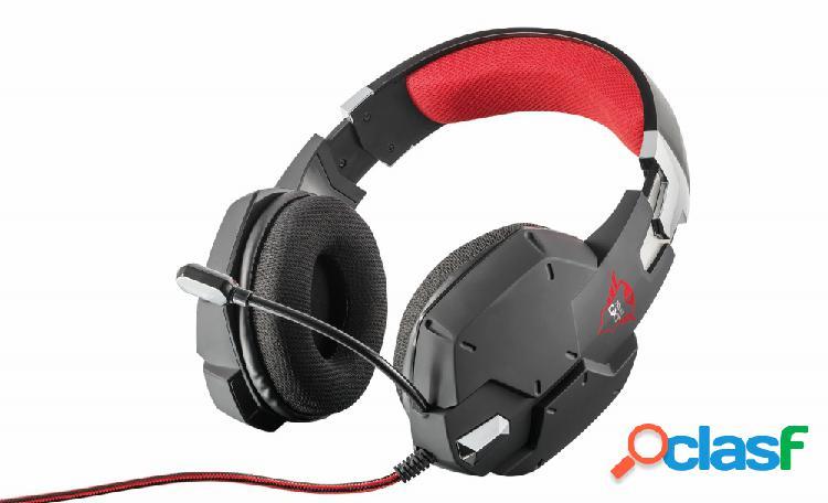 Trust audífonos gamer gxt 322 carus para ps4/ps5/xbox, alámbrico, 1 metro, 3.5mm, negro/rojo