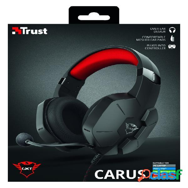 Trust audífonos gamer gxt 323 carus para nintendo/xbox/ps4/ps5, alámbrico, 1.2 metros, 3.5mm, negro/rojo