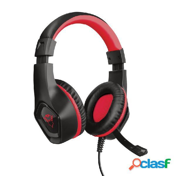 Trust audífonos gamer gxt 404r rana para nintendo switch, alámbrico, 1 metro, 3.5mm, negro/rojo