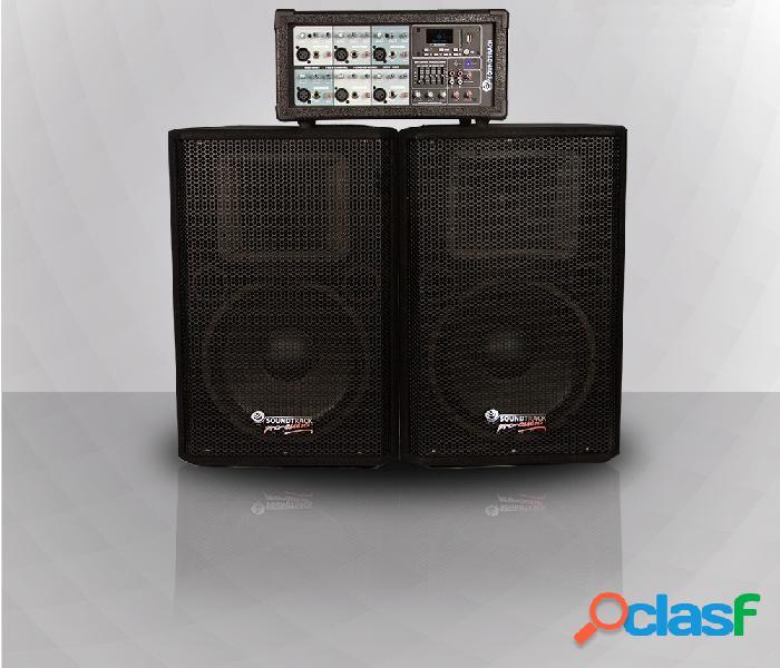 Soundtrack mezcladora sha-106bt, 6 canales, bluetooth, usb, 200w, negro - incluye 2 baffles