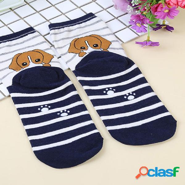 Hombres mujer algodón de rayas de dibujos animados calcetines calcetín de tobillo informal multicolor de alta calidad calcetines