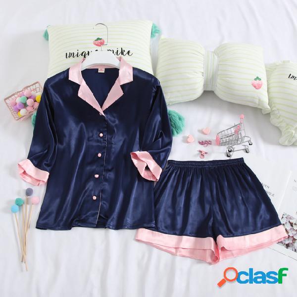 Sección delgada pantalones cortos de manga corta pijamas temporada para mujer seda del hielo traje de dos piezas lindo