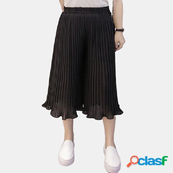 Casual suelta color sólido cintura elástica mujer gasa pantalones