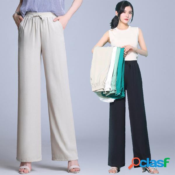 Otoño sensación lino pierna ancha pantalones pantalones de mujer recta cintura alta temporada ropa de algodón y lino mujer pantalones temporada suelta delgada pantalones