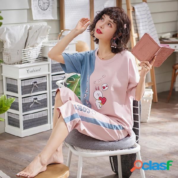 Pijamas cuarto de mujer pantalones cortos de manga corta traje sección delgada casual fresco pantalones servicio a domicilio mujeres días