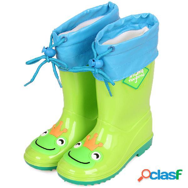 Unisex kids cartoon decor impermeable forro cálido botas de lluvia preciosas