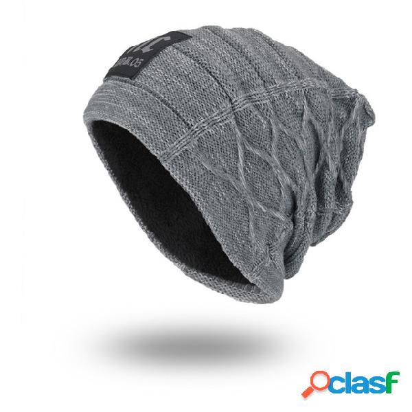 Hombres mujer lana de punto sombrero plus gorras calientes nc etiqueta al aire libre gorro sombreros