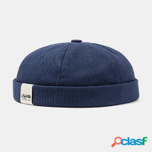 Hombres y mujer gorra de marinero retro fría sombrero color sólido cráneo gorra sin ala sombreros