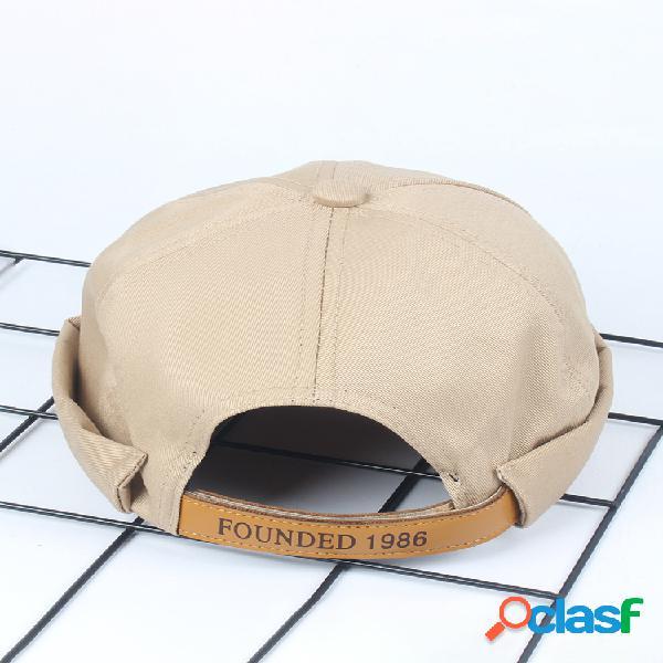 Hombres y mujer sombreros sin borde franceses sólidos transpirables ajustables gorra de marinero con letras retro skullcap