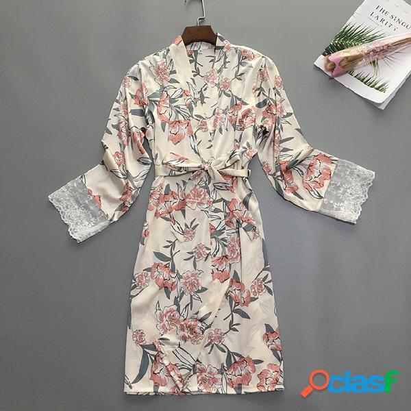 Pijamas de satén temporada para la mujer flores de seda de hielo kimono princesa viento chaqueta de punto servicio a domicilio suelto se puede usar