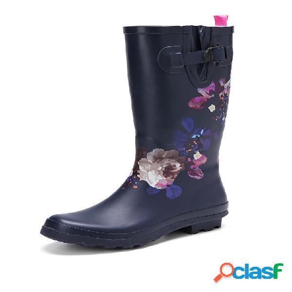 Socofy soft caucho natural floral antideslizante impermeable tacón bajo hasta la rodilla para lluvia botas