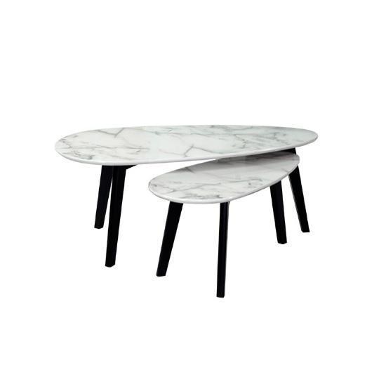 Juego de mesas nido coco - marmol blanco