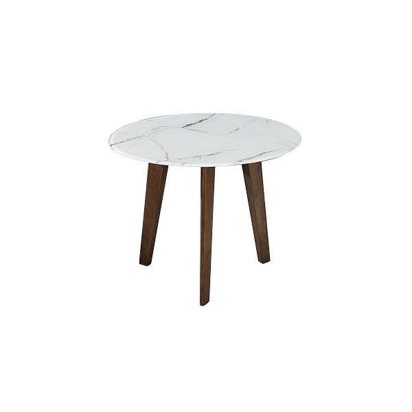 Mesa lateral adenn marmol cristal - marmol blanco / nogal