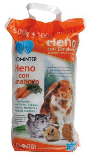 Cominter heno con zanahoria para roedores