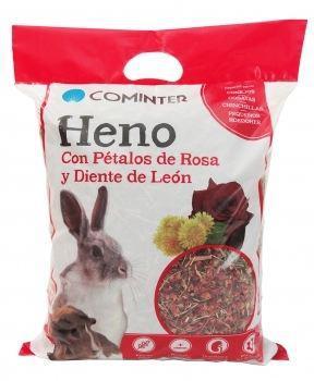 Cominter heno pétalo rosa y diente de león para roedores