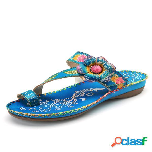 Socofy bohemian piel genuina ajustable gancho lazada cómoda punta con clip sandalias