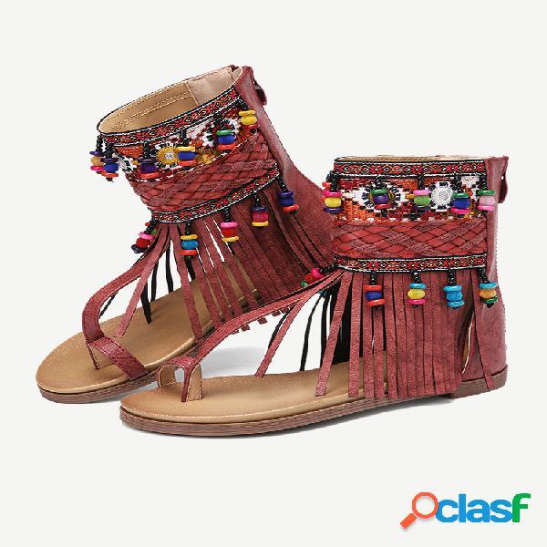 Lostisy bordado clip dedo del pie espalda cremallera gladiador sandalias para mujer