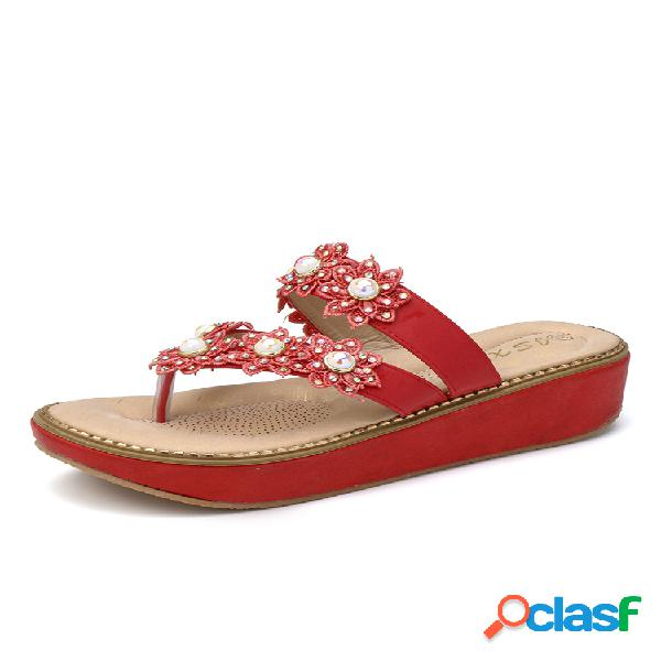 Mujer flores decorativas clip dedo del pie planos zapatillas