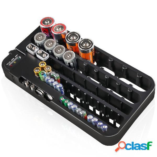Organizador de la batería con el caso de la caja de almacenamiento del probador de la batería para 72pcs aa aaa 9v ag tipo de batería del cr