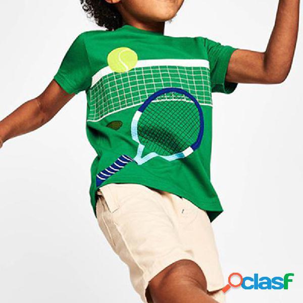 Camiseta informal de manga corta con estampado de balones deportivos para niños de 3-12 años