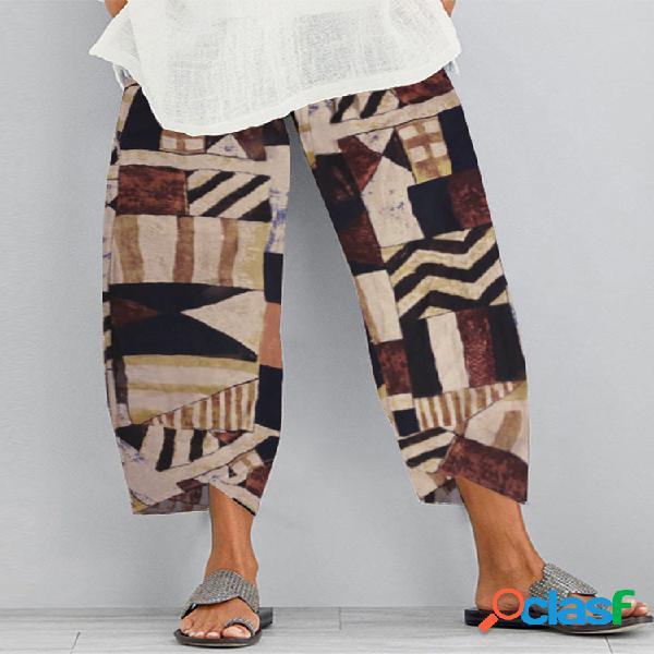Cintura elástica con estampado étnico plus talla pantalones para mujer