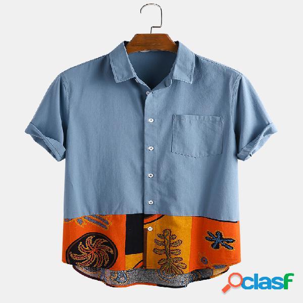 Hombre algodón étnico estampado patchwork casual camisa