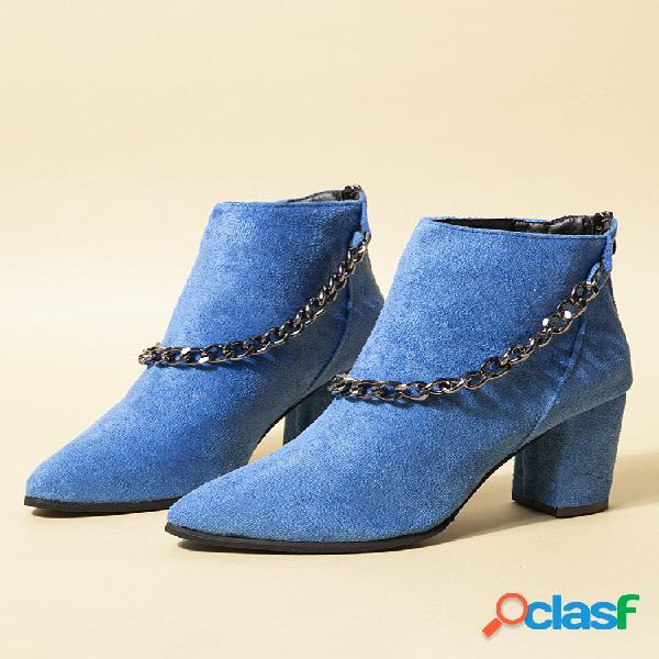 Plus talla mujer cómoda cadena de gamuza punta puntiaguda tacón grueso cremallera plush forro de tobillo botas