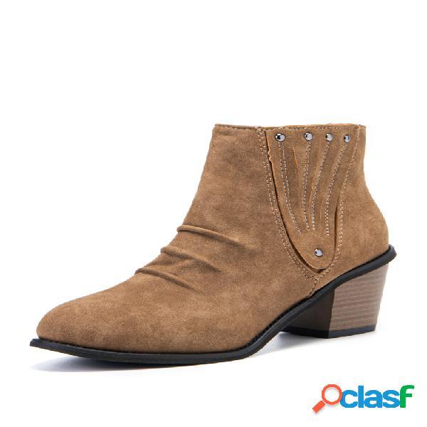 Plus talla mujer gamuza punta puntiaguda cremallera tacón grueso tobillo botas