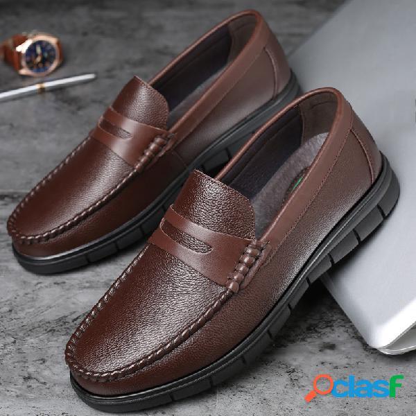 Hombres classic moe toe low top soft mocasines casuales de cuero