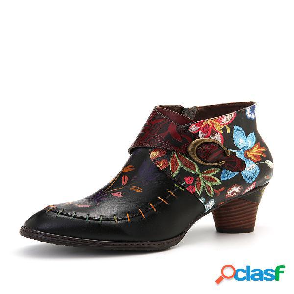 Socofy colorful flor pintada de costura piel genuina tobillo elegante botas