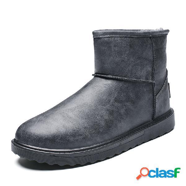 Hombres cómodos impermeable forro cálido deslizamiento de punta redonda en nieve informal botas