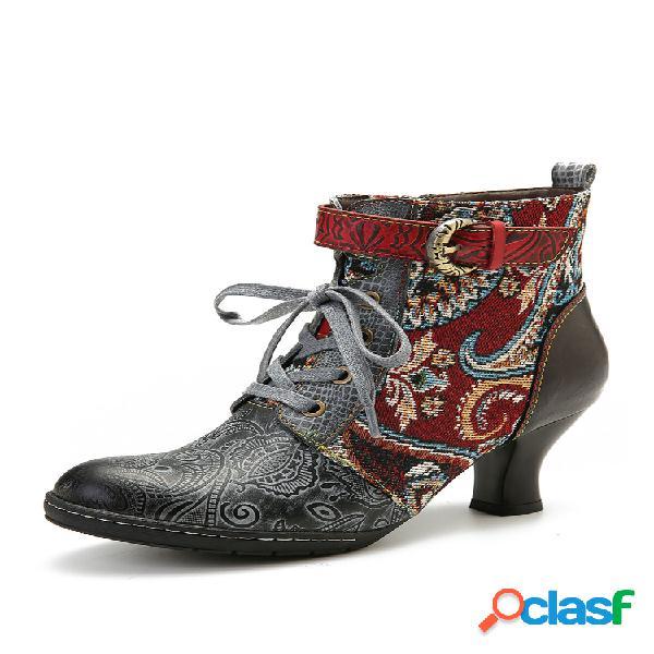 Socofy embossed piel genuina hebilla de metal cremallera con cordones tobillo de tacón alto botas