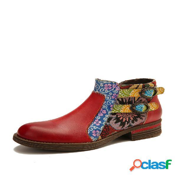 Socofy piel genuina empalme retro hebilla cremallera tobillo plano botas