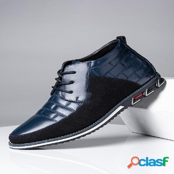 Tobillo de cuero informal de negocios con cordones de punta redonda para hombre botas