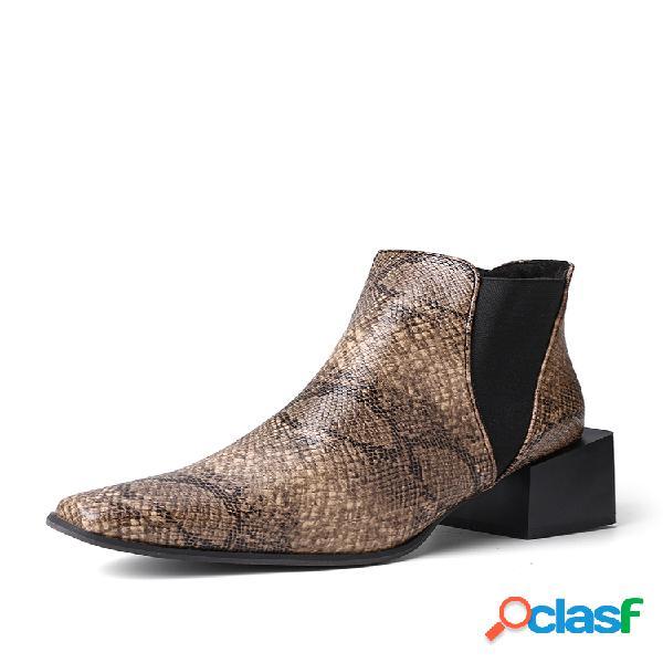 Plus talla mujer tobillo con tacón de bloque en punta en punta botas
