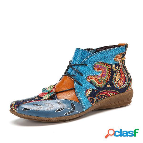 Socofy folkways floral paño paisley empalme flor decoración cuero cómodo tobillo plano botas fatbaby botas