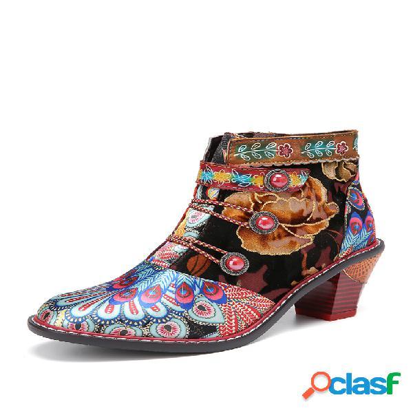 Socofy retro tela floral empalme de cuero cómodo usable casaul tobillo botas