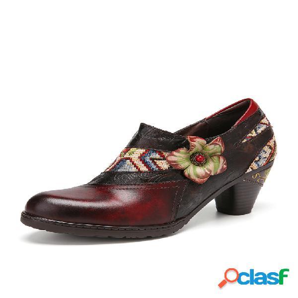 Socofy vendimia empalme de flores piel genuina punta redonda tacón grueso tacones con cremallera en el tobillo