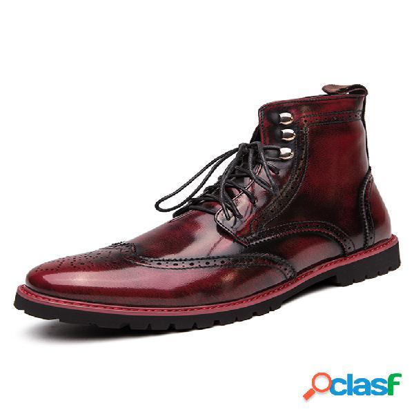Tobillo de cuero con cordones tallados brogue con estilo para hombre botas