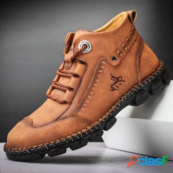 Tobillo de cuero de microfibra cosido a mano estilo trabajo para hombre botas botas