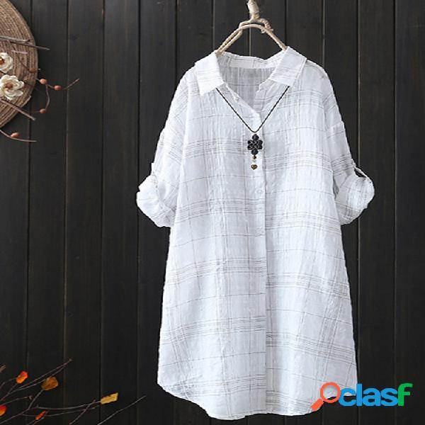 Mujer blusa informal de manga larga irregular con estampado de cuadros sueltos