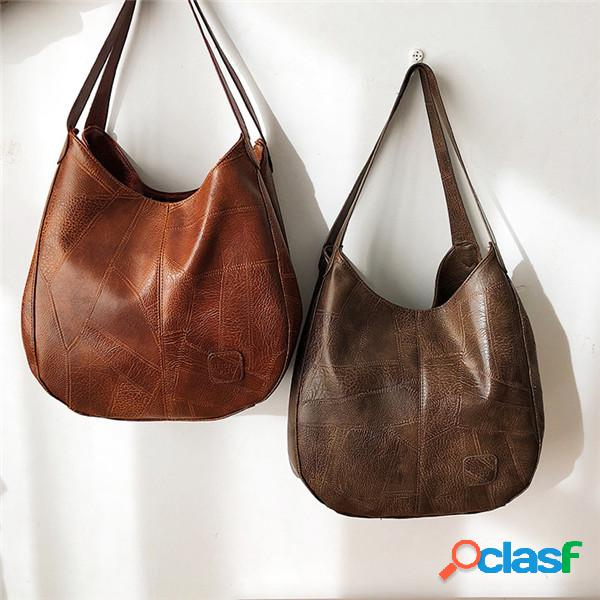Mujer hombro informal multicapa bolsa edredón bolso sólido
