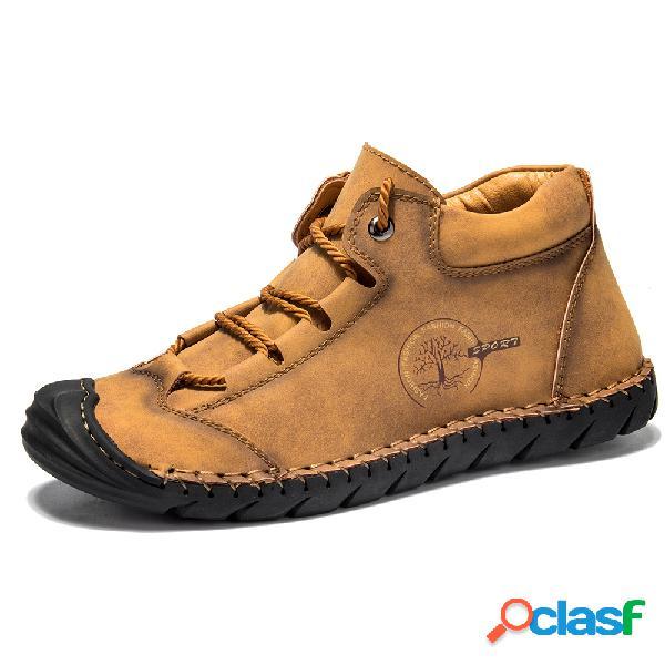 Menico hombres soft costuras a mano en la suela tobillo de cuero antideslizante botas