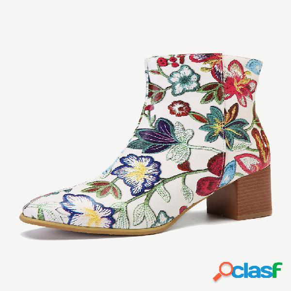 Plus talla mujer moda punta puntiaguda flores bordado tacón grueso cremallera corto botas
