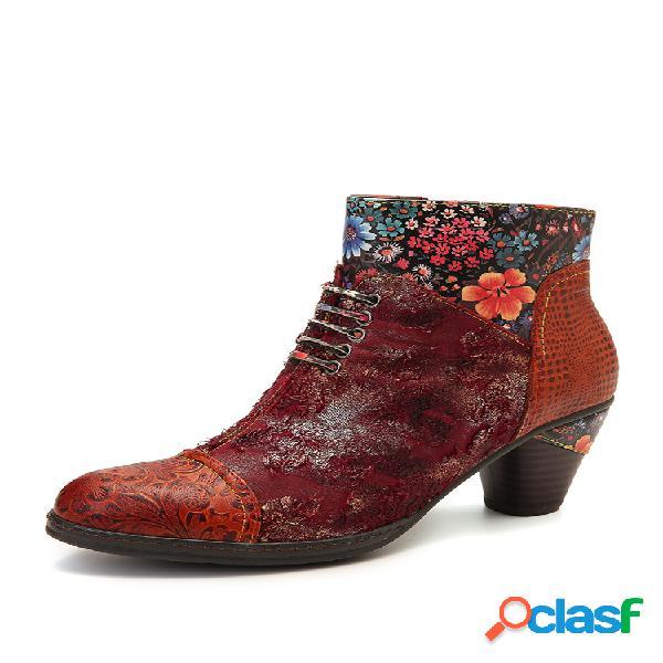 Socofy retro relieve piel genuina empalme fancy patrón cremallera tacón alto tobillo botas