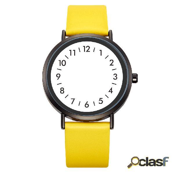 Estilo casual reloj de cuarzo creative dial fashion mujer impermeable cuero banda reloj de cuarzo