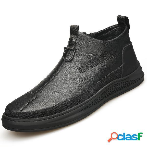 Hombres cómodos con cremallera interior soft tobillo de cuero único botas