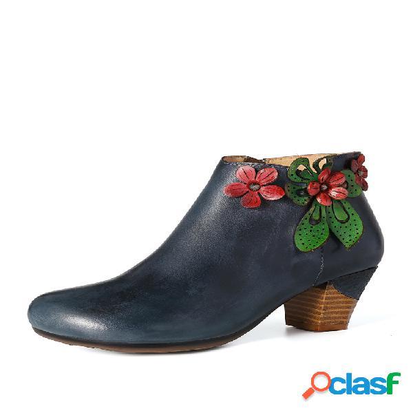 Socofy retro red flower piel genuina tobillo de tacón alto azul oscuro simple botas