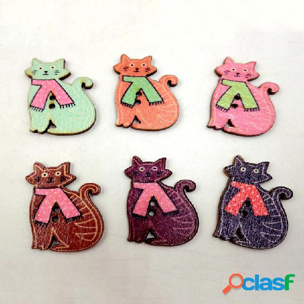 50 piezas lindo gato animales en forma de costura de madera botones dos agujeros botones materiales de decoración artesanal