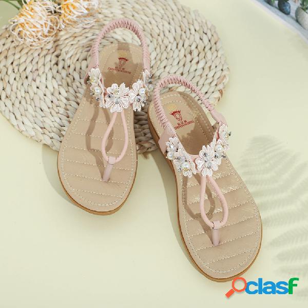 Mujer zapatos planos con adorno de flores con clip se deslizan sandalias